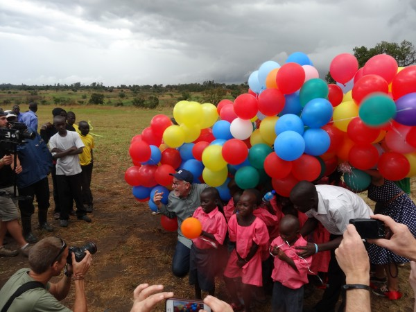 Bob celebrating with his youngest students. Have you ever seen so many balloons?