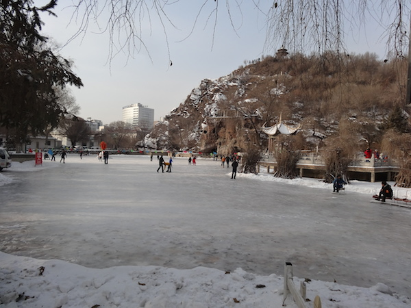Ice skating in the park.